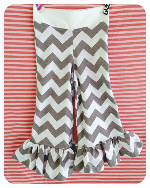 Gray Chevron Ruffle Leggings